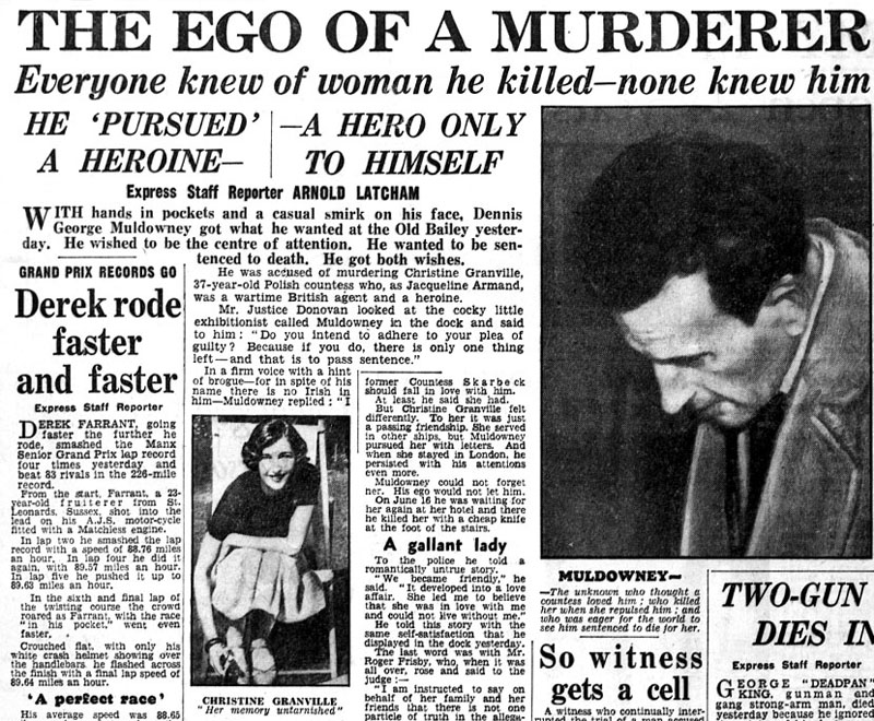 Daily Express newspaper reporting murder of SOE agent Christine Granville by Dennis George Muldowney, photo: TopFoto/Forum
