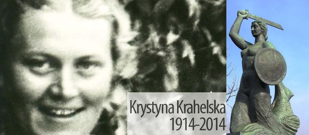"""Krystyna Krahelska ps. """"Danuta"""" oraz pomnik warszawskiej Syreny, fot. MPW"""