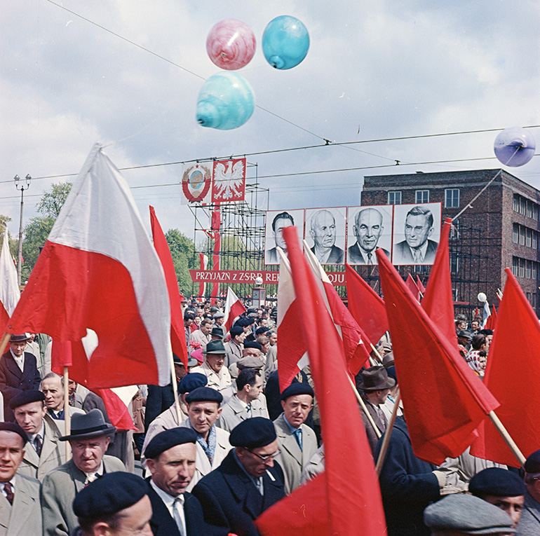 Early 1960s 1st May parade. Portraits of Brezhniev,  Krushchev, Gomółka and Zawadzki. Warsaw, photo by Zbyszek Siemaszko / Forum