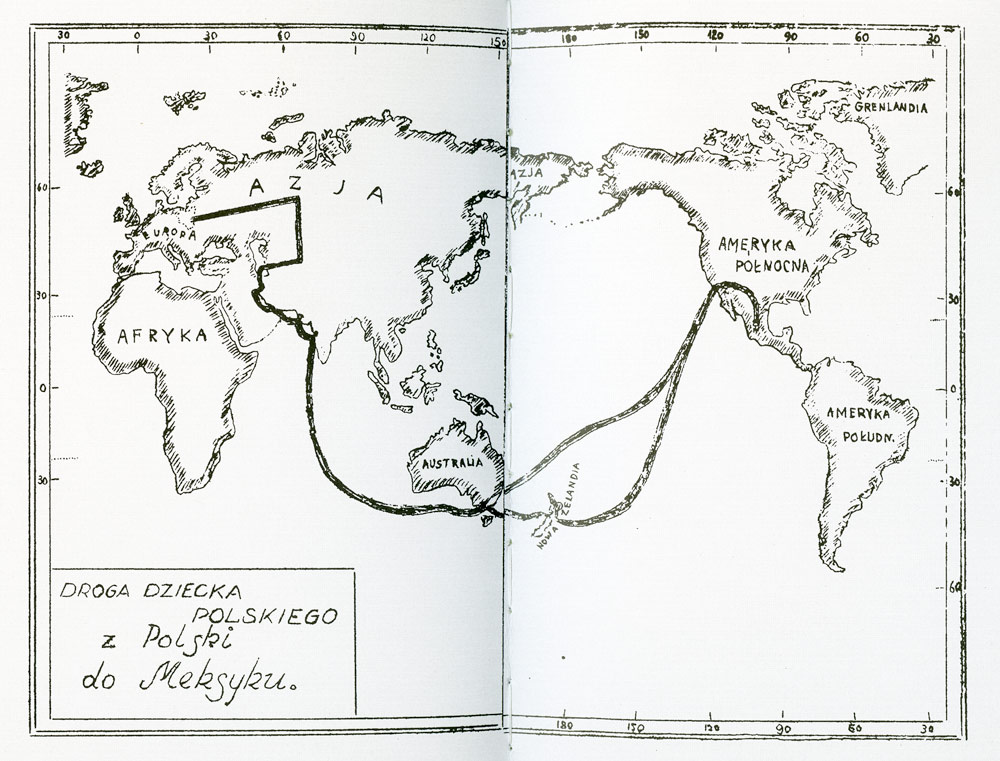 The route of Polish refugees, scan from the report about Hacienda de Santa Rosa, León 1943.