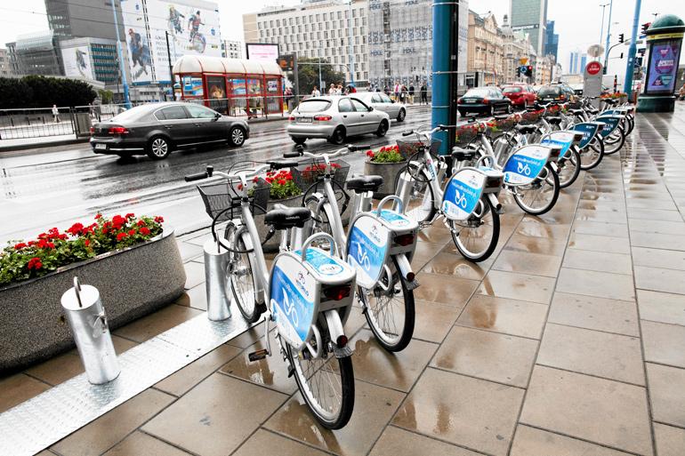 A station of public bikes, photo: Agata Grzybowska / Agencja Gazeta