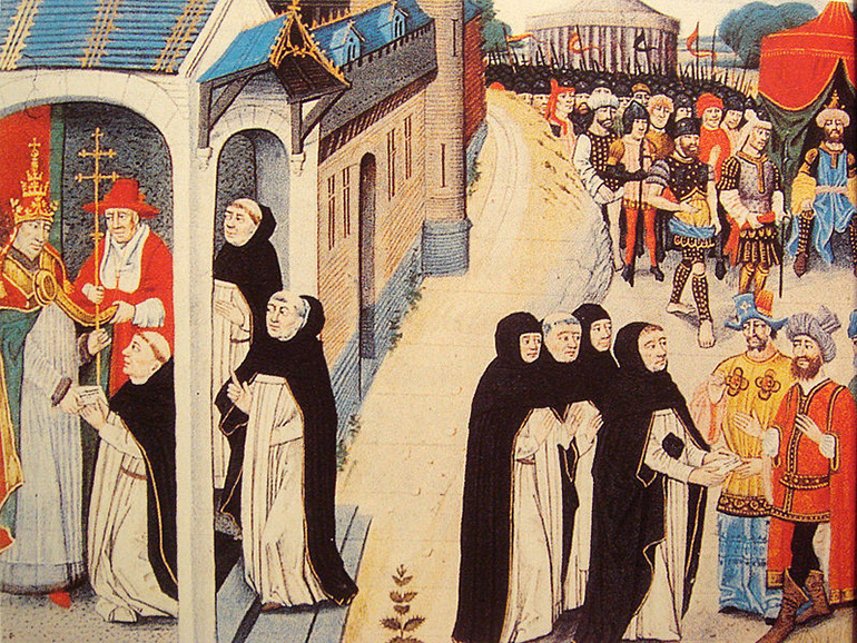 """Ascelin Of Cremone receiving a letter from Innocent IV, and remitting it to the Mongol general Baiju, picture from Chronique des Empereurs, by David Aubert (1462), reproduction in """"Genghis Khan et l'Empire Mongol"""", Jean-Paul Roux, photo from public domain / Wikimedia"""