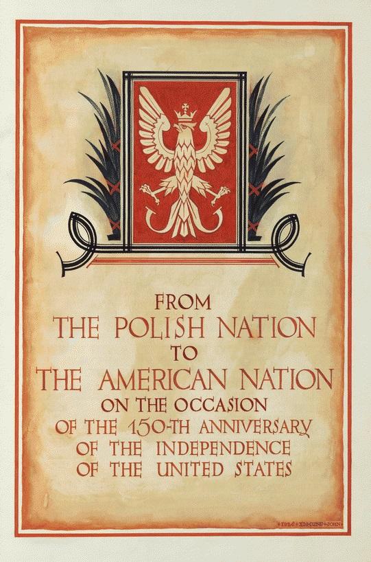 Okładka księgi z podpisami Polaków, fot. materiały Biblioteki Kongresu USA