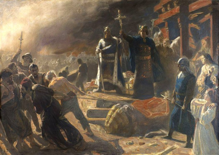 Bishop Absalon topples the god Svantevit at Arkona - painting by Laurits Tuxen in the collection of hopegallery.com, Photo: Wikimedia/CC