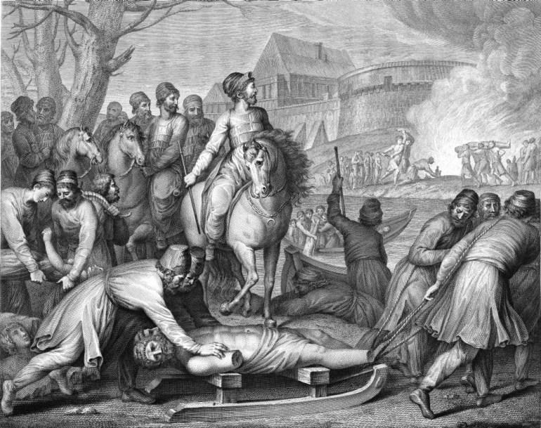 Mieszko I crashes the pagan idols, as imagined by Polish 19th century artist Jan Kazimierz Wilczyński (Album Wileńskie, 1835); Source: Wikimedia CC