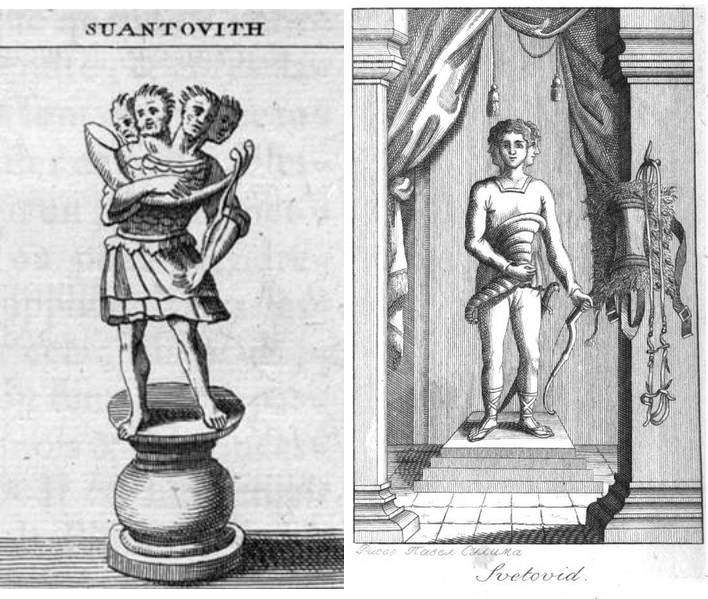 Figures of Svantevit as imagined by modern artists: Bernard de Mantfaucon from 1722 (left) and Andrei S. Kaisarov (1804); Photo: Wikimedia/CC