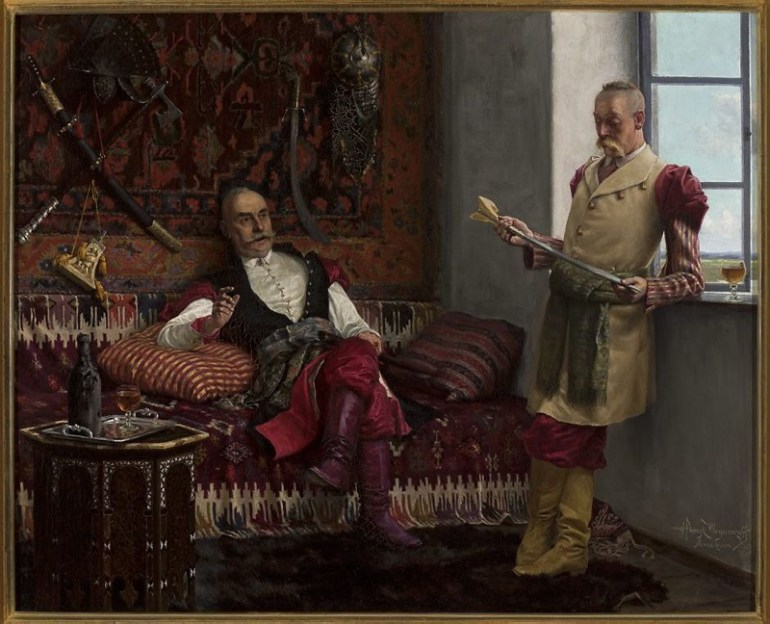 Sarmatian fashion is one of the many Turkish influences on Polish culture – like the habit of head shaving. History of a Khanjar, a painting by Henryk Weyssenhoff, shown during the Polish Year in Turkey. Source: MNW