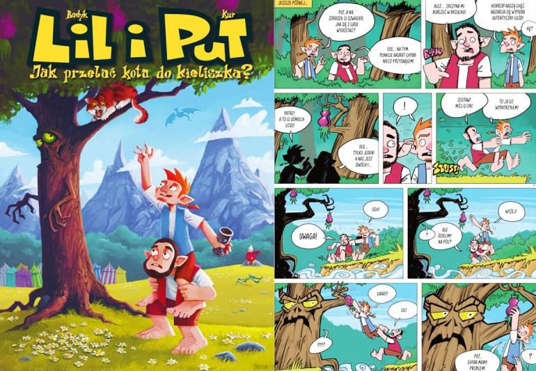 """""""Lil i Put. Jak przelać kota do kielicha?"""", okładka i plansza z komiksu, wyd. Egmont, fot. materiały promocyjne"""