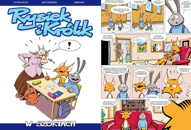 """""""Rysiek i królik"""", wyd. Egmont, okładka i plansza z komiksu, fot. materiały promocyjne"""