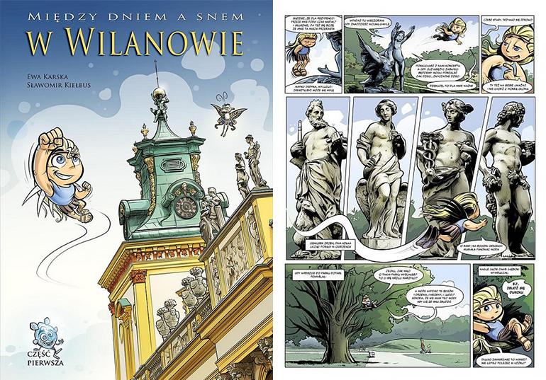 """Sławomir Kiełbus, """"Między dniem a snem w Wilanowie"""", wyd. MAAR, okładka i plansza z komiksu, fot. materiały promocyjne"""