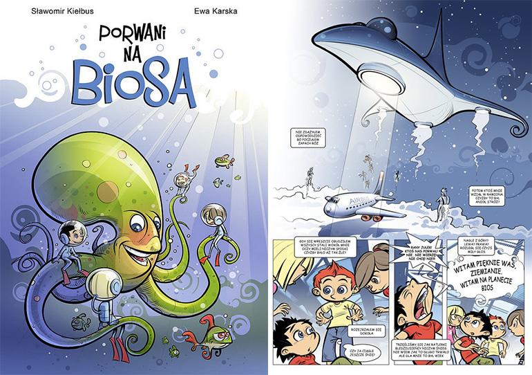 """""""Porwani na Biosa"""", wyd.MAAR, okładka i plansza z komiksu, fot. materiały promocyjne"""