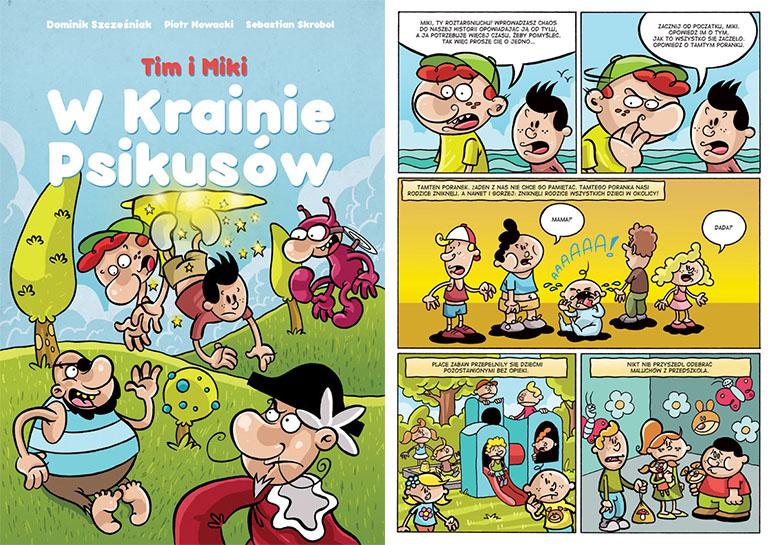 """""""Tim i Miki w Krainie Psikusów"""", okładka i plansza z komiksu, fot. materiały promocyjne"""