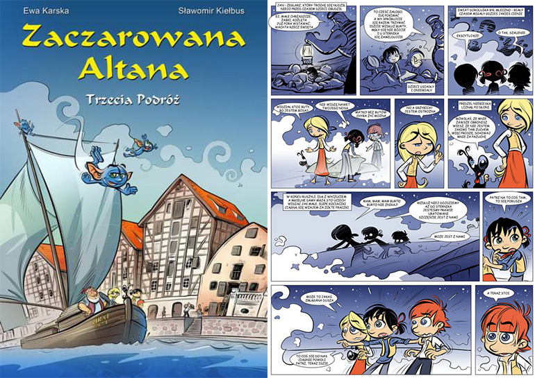 """""""Zaczarowana Altana"""", okładka i plansza z komiksu, wyd. MAAR, fot. materiały promocyjne"""