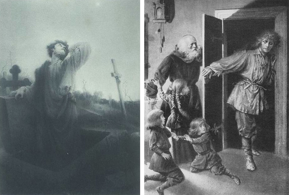 Upiór and Pustelnik (also an upiór) from Mickiewicz's Forefathers Eve - the Poem and Part 4; illustration by Czesław Jankowski