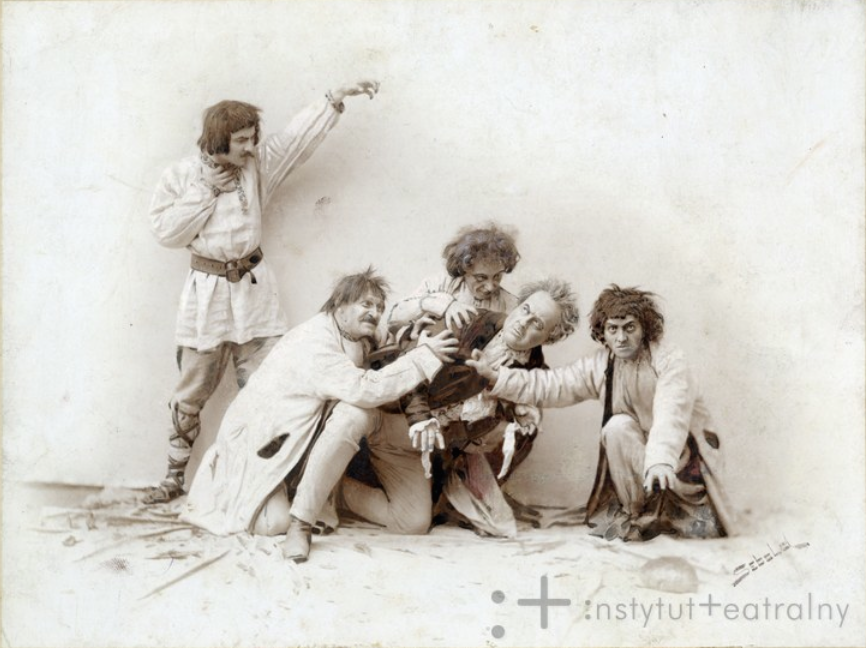 Upiórs in the scene from Mickiewicz's The Forefathers Eve, directed by Stanisław Wyspiański in Kraków, 1901; source: Instytut Teatralny