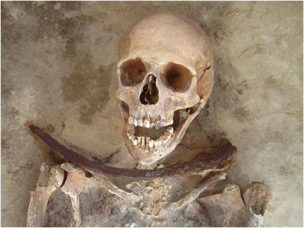 One of the skeletons uncovered in Drawsko, considered a vampire burial; Source: Plos One