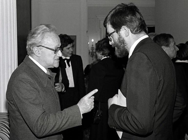 Kazimierz Brandys i Stanisław Barańczak, 1983, Nowy Jork, fot. Czesław Czaplinski/FOTONOVA / East News