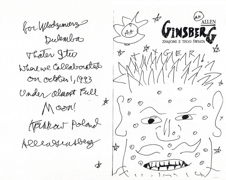 """Dedykacja Allena Ginsberga w jego """"Znajomych z tego świata"""", Kraków 1993 i rysunek Tigera (Tygrysa) na stronie tytułowej"""