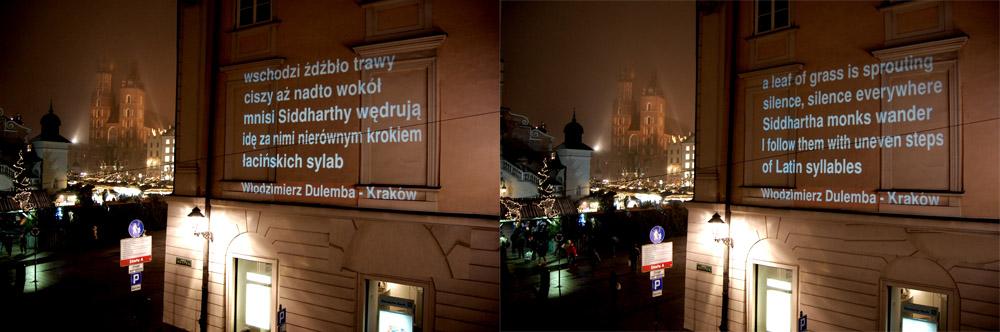 Wiersze na murach, Kraków, ul. Bracka  2, 7 grudnia 2014, fot. Poemat