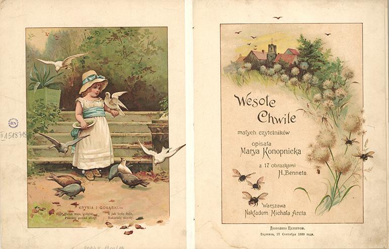 """Rozkładówka książki """"Wesołe chwile"""" Marii Konopnickiej z obrazkami H. Benneta, 1889, fot. Polona / www.polona.pl"""