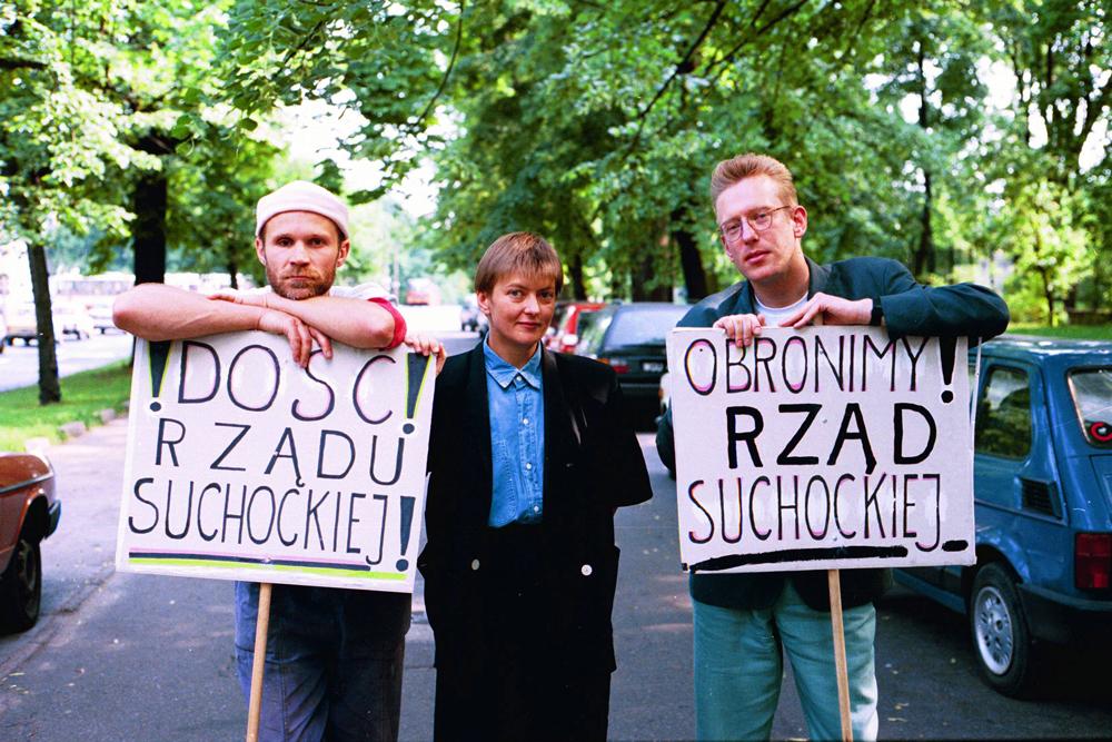 Jacek Hugo-Bader, Beata Pawlak i Mariusz Szczygieł, 1993, fot. Sławomir Kamiński / Agencja Gazeta