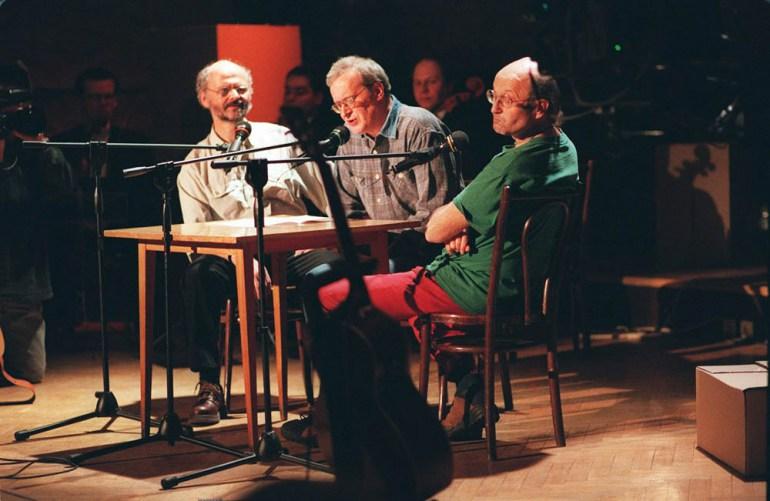 Kabaret Salon Niezależnych. Na zdjęciu (od lewej): Michał Tarkowski, Janusz Weiss, Jacek Kleyff, fot. Sławomir Sierzputowski / AG
