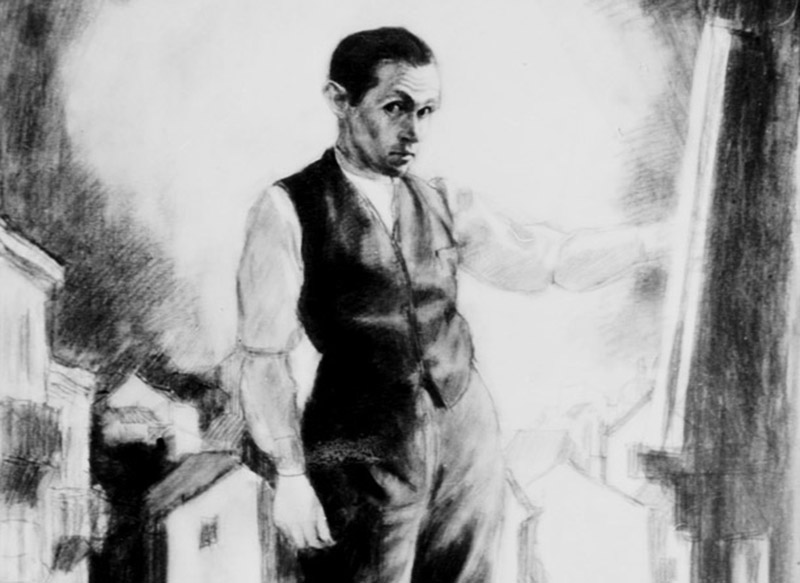 Bruno Schulz, Self-Portrait, 1921, copy of Bruno Schulz's painting form the private collection of Jerzy Ficowski, photo: Tomasz Prażmowski / PAP