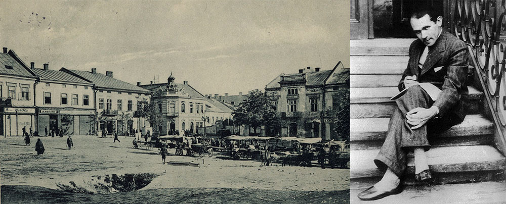 The main square in Drohobych, 1920, photo: The National Library - CBN Polona; Bruno Schulz in Drohobych, 1933-1934, photo: České Centrum Praha