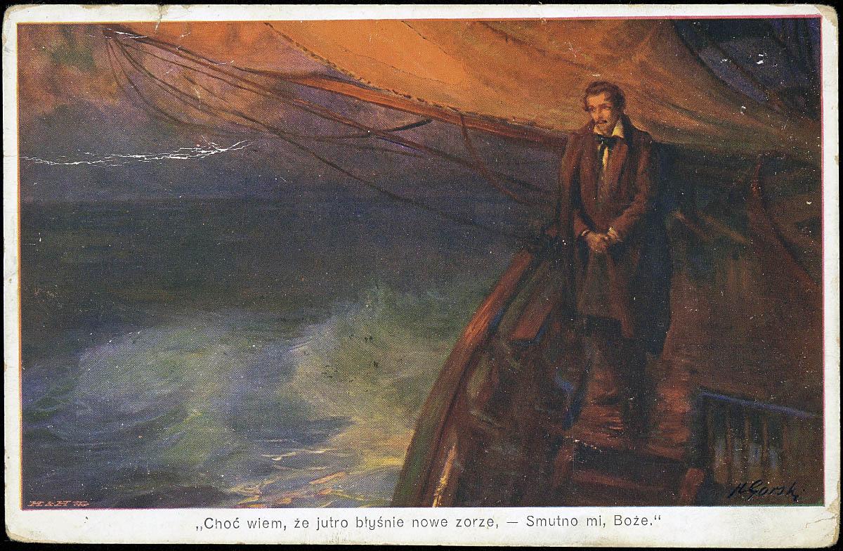 Pocztówka z wizerunkiem Juliusza Słowackiego, fot. Biblioteka Narodowa, Polona.pl