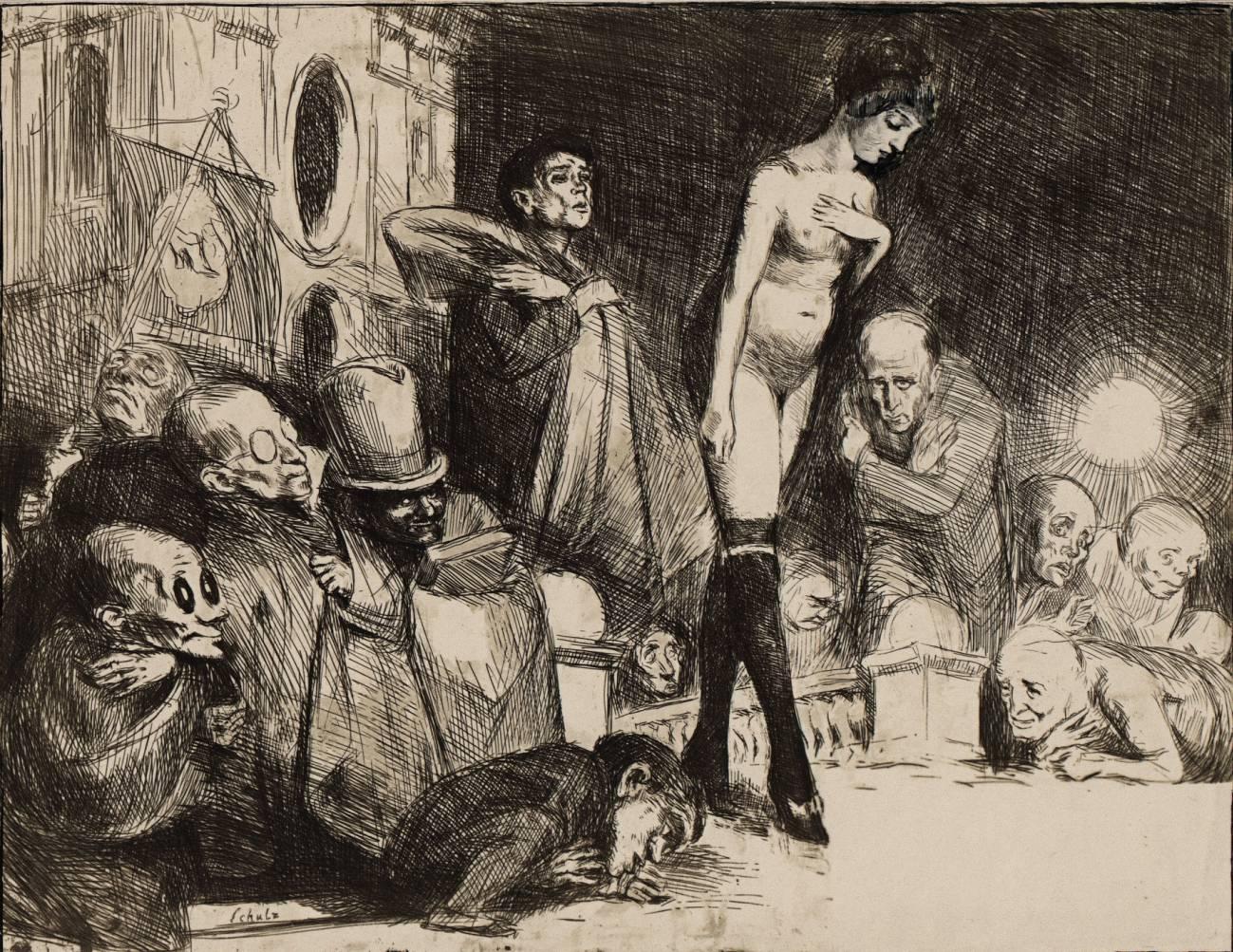 Бруно Шульц «Процессия», из цикла «Книга идолопоклонства», 1920–1921, клише-верр на бумаге