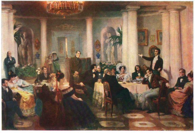 Mickiewicz improvising in Grigoriy Myasoyedov's painting