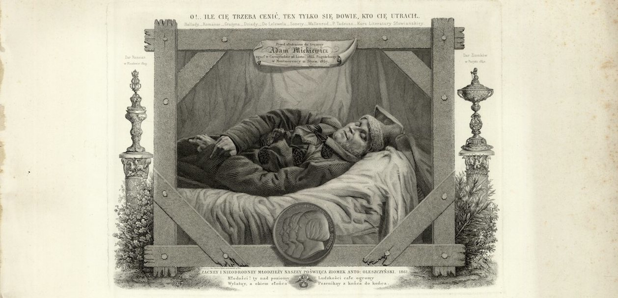 Adam Mickiewicz on his deathbed, artwork by Antoni Oleszczyński, 1861, source: Polona.pl