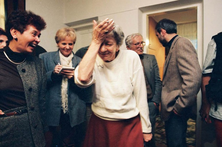 Szymborska upon hearing the news of receiving the Nobel Prize in literature, Zakopane, 1996,  photo: Adam Golec / AG