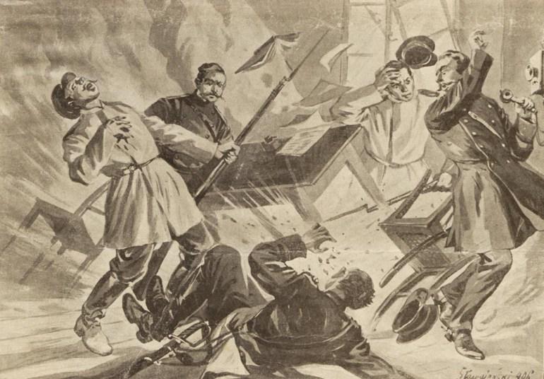 """""""Bomby w cyrkule policyjnym"""" na łamach """"Nowości Illustrowanych"""", Kraków, 25 sierpnia 1906"""