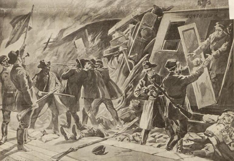 """""""Zamach na pociąg pocztowy"""" na łamach """"Nowości Illustrowanych"""", Kraków, 17 listopada 1906"""