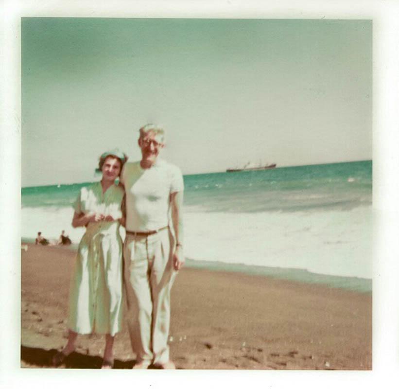Barbara i Andrzej Bobkowscy podczas wyjazdu nad Pacyfik, marzec 1958, fot.  z archiwum Muzeum Literatury