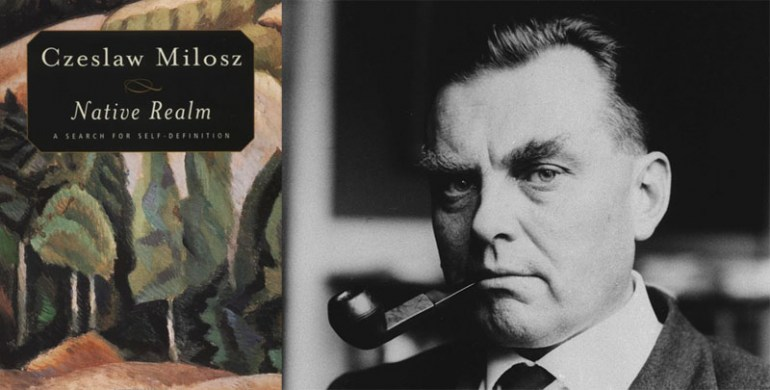 Cover of the book Native Realm by Czesław Miłosz and portrait of  Czesław Miłosz, photo: OZKOK / SIPA / East News