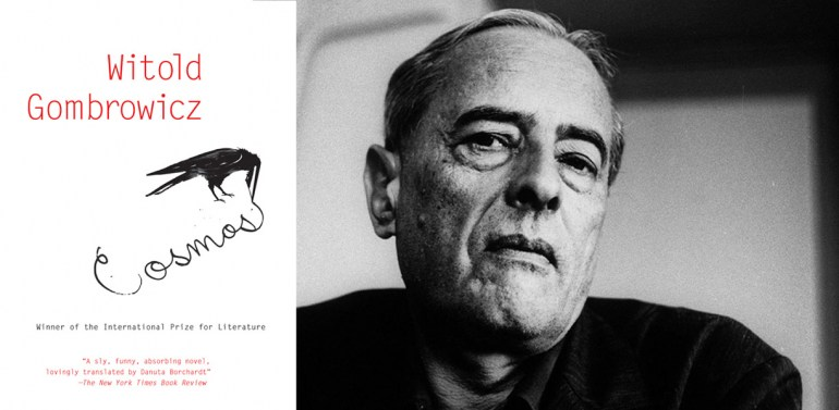 Cover of the book Cosmos by Witold Gombrowicz and  portrait of  Witold Gombrowicz, photo: SIPA PRESS / East News