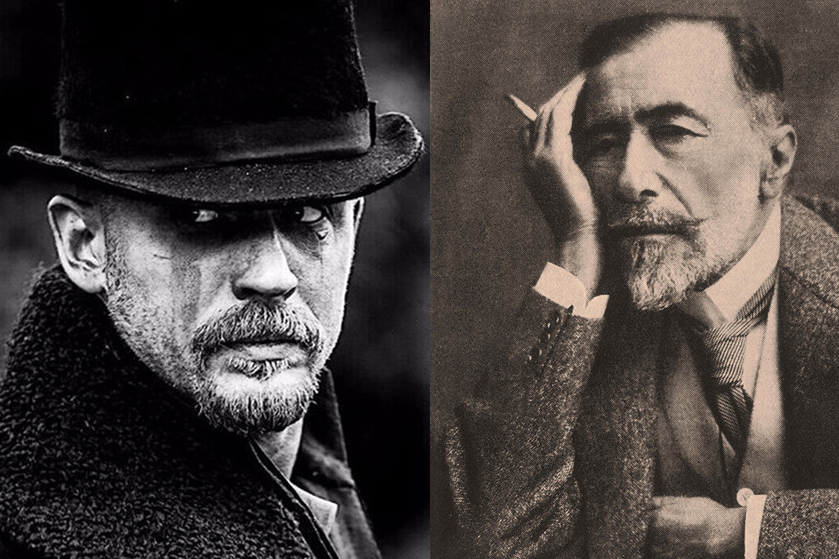 Tom Hardy in the television show Taboo, photo: Hardy, Son & Baker; Joseph Conrad in 1920, photo: represented by ZUMA Press / Forum