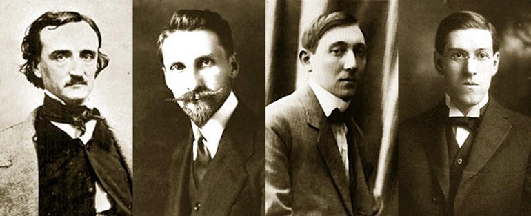 Edgar Allan Poe (1809-1849), Stefan Grabiński (1887-1936), Jean Ray (1887-1964), Howard Phillips Lovecraft (1890-1937), fot. Wikipedia