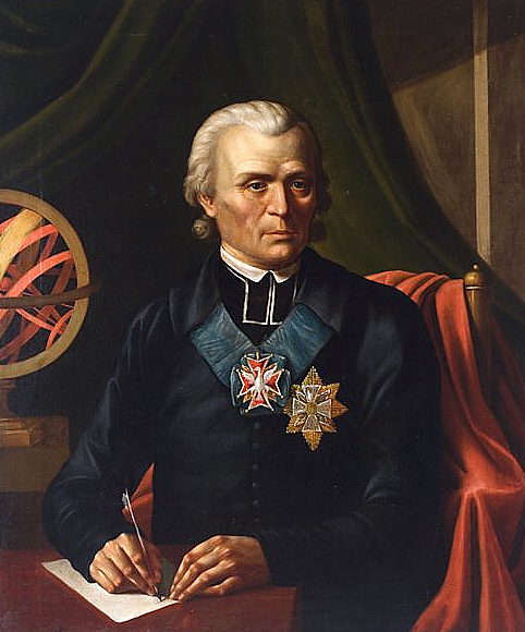 One of the most prominent astronomers of the 18th century, Marcin Poczobutt-Odanicki portrayed by Józef Oleszkiewicz