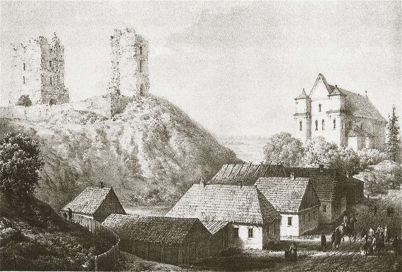 Napoleon Orda's lithograph depicting the ruins of castle in Nowogródek, the place of Mickiewicz's childhood, source: public domain