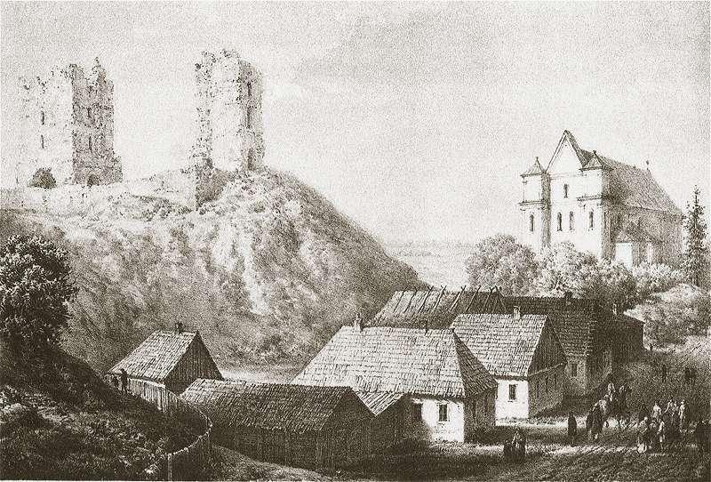 Развалины замка в Мире на литографии Наполеона Орды. Источник: общественное достояние