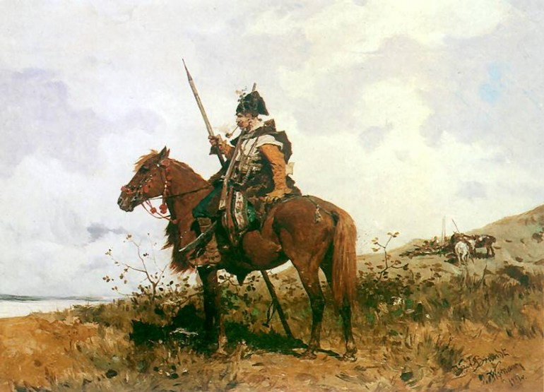 Józef Brandt, A Cossack on Horse; source Wikimedia Commons
