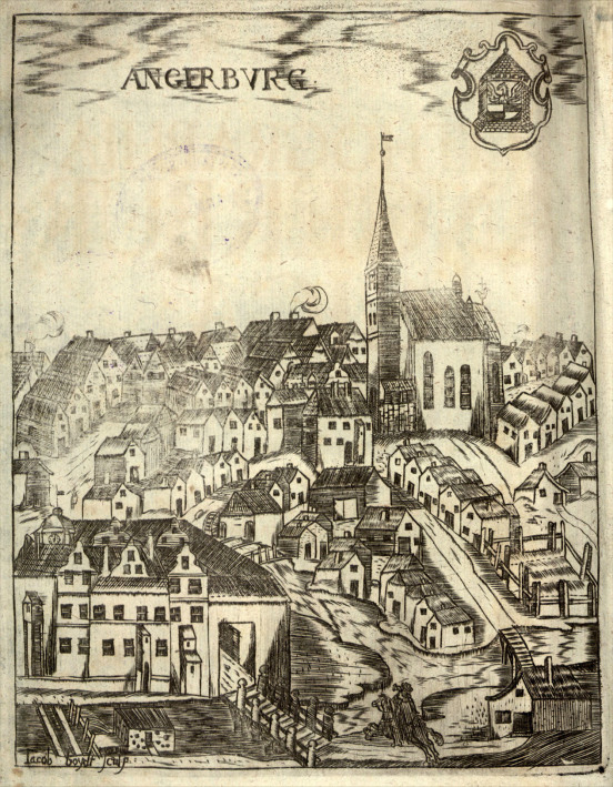 A view of Angerburg (Węgorzewo) - Helwing's hometown, as represented in Helwing's Lithographia Angerburgica (1717); source: Polona.pl