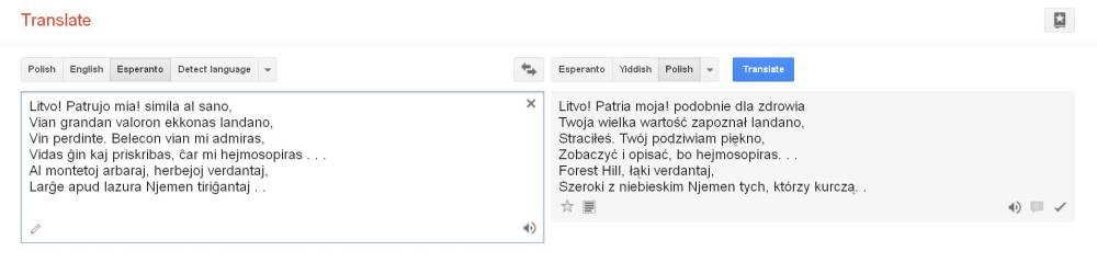 Google Translate Esperanto