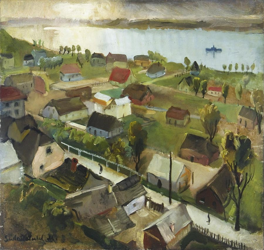 """A view of Kazimierz nad Wisłą"", painting by Menashe Seidenbeutel; source: Jewish Historical Institute (available at Centralna Baza Judaików, w zbiorach ŻIH."