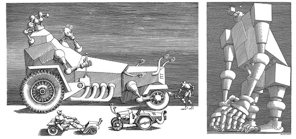 """Daniel mróz, ilustrację z książki Stanisława Lema """"Cyberiada"""", 1972, fot. z archiwum prywatnego"""