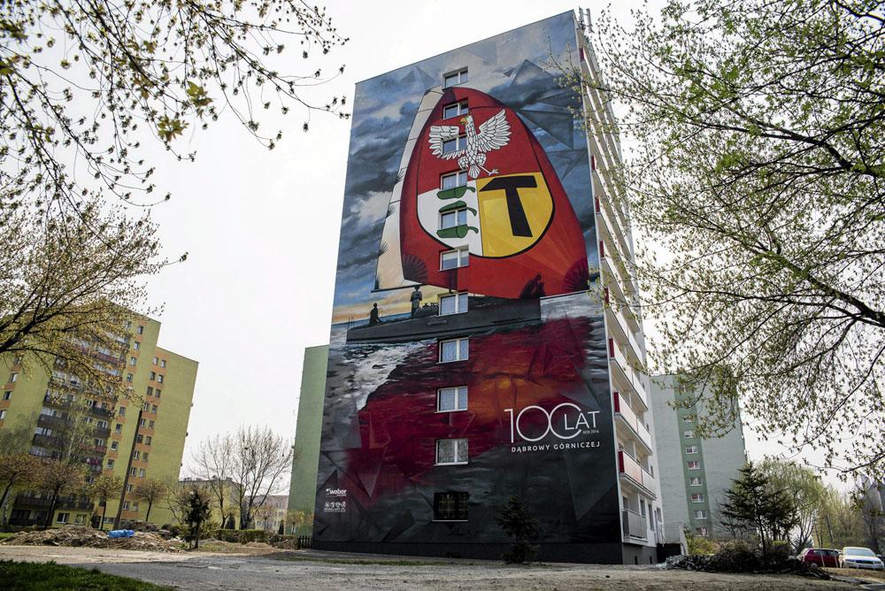 Dąbrowa Górnicza, mural na bloku przy ul. Kosmonautów, fot. Kamila Kotusz / AG