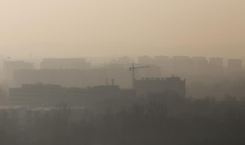 Smog nad Krakowem, widok z Kopca Krakusa, luty 2017, Jakub Porzycki/Forum